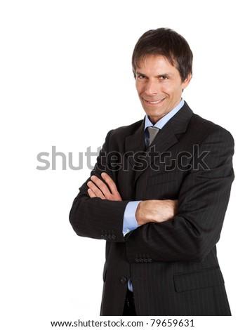 Portrait of a wicked businessman - stock photo