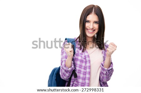 Portrait of a winner happy woman over white background looking at camera