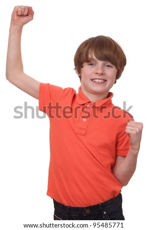 Portrait of a winner with raised arm isolated on white background - stock photo
