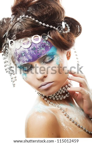 Portrait of a winter lady with creative visage - stock photo