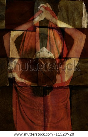 Portrait of a woman against abstract background - stock photo