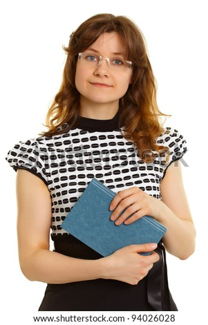 Portrait of a woman - an adult student with a book isolated on white background - stock photo