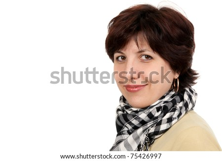 portrait of a woman forty years in a checkered scarf isolated on a white background - stock photo