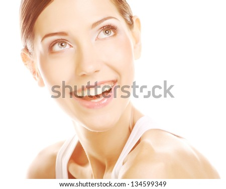 Portrait of a woman, happy smiling - stock photo