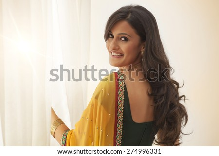 Portrait of a woman in a saree - stock photo