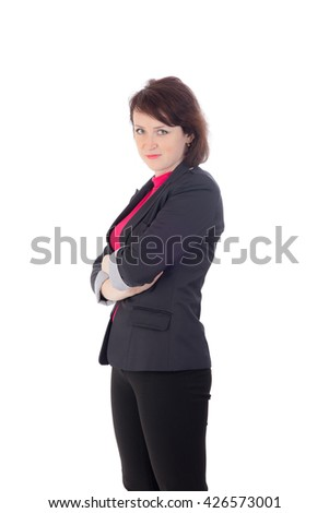 portrait of a woman in a trouser suit - stock photo