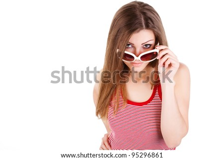 portrait of a woman in sun glasses isolated - stock photo