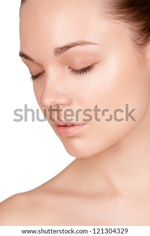 portrait of a woman in three quarters with their eyes closed - stock photo