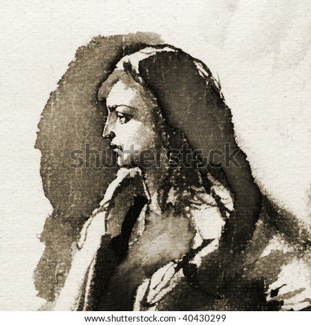 Portrait of a woman. Ink on paper. - stock photo