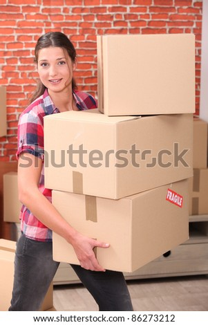 portrait of a woman moving - stock photo