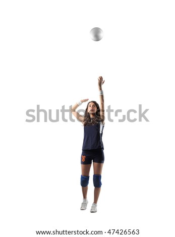 Portrait of a woman playing volleyball - stock photo