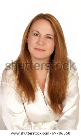 Portrait of a woman ready for a spa treatment - stock photo