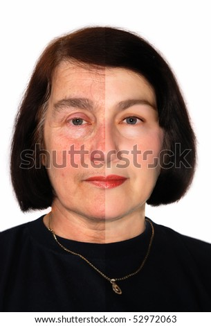 Portrait of a woman showing extreme retouching. - stock photo
