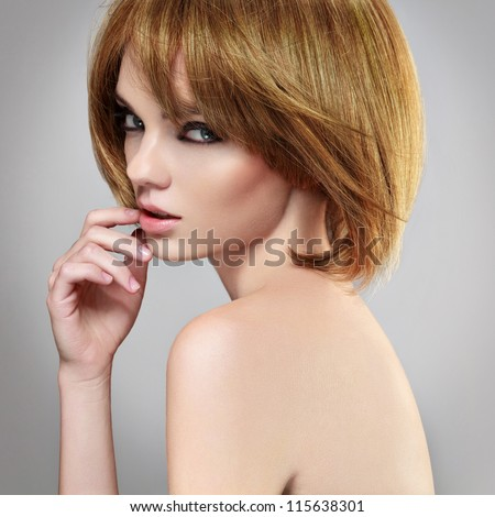 Portrait of a woman with a bob hairstyle. - stock photo
