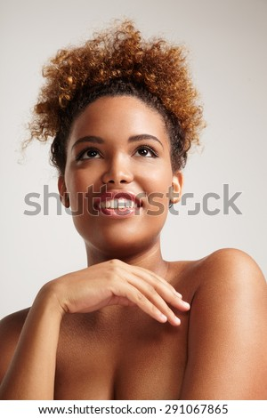 portrait of a woman with a healthy skin - stock photo