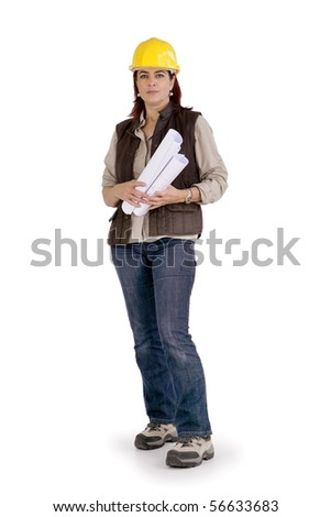 Portrait of a woman with a safety helmet and a laptop computer - stock photo