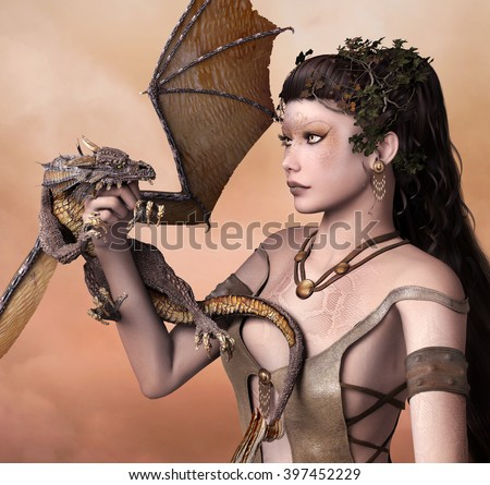 Portrait of a woman with dragon - 3d illustration - stock photo