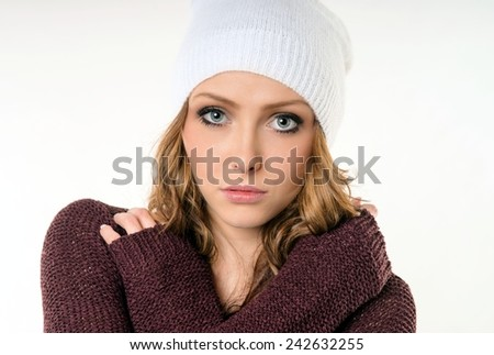 Portrait of a woman with hat / Woman - stock photo