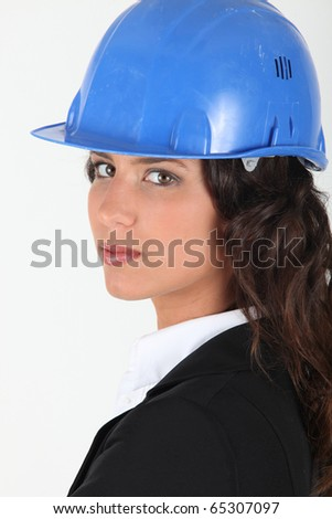 Portrait of a woman with helmet