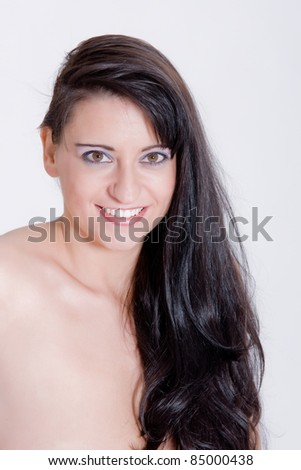 Portrait of a woman with long dark hair /Beauty Portrait - stock photo