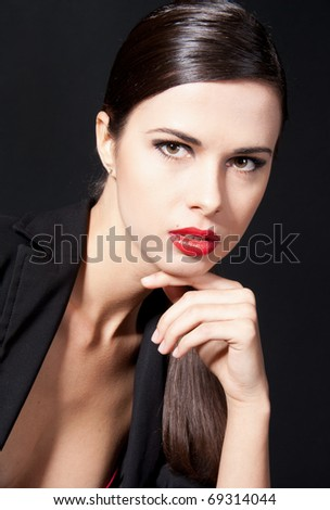 portrait of a  woman with red lips - stock photo