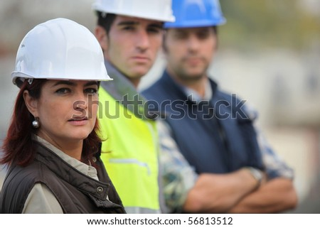 Portrait of a woman with safety helmet