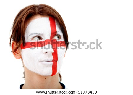 Portrait of a woman with the english flag painted on her face isolated over white - stock photo