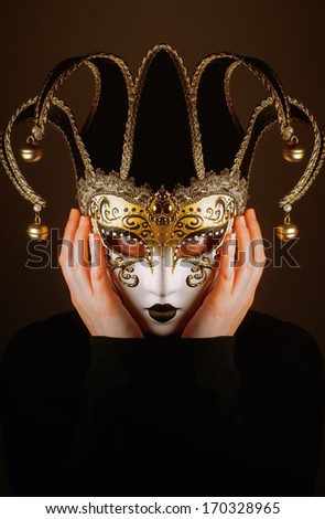 portrait of a woman with Venice mask of Jester