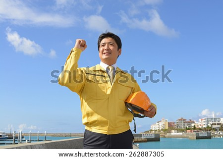 Portrait of a worker - stock photo