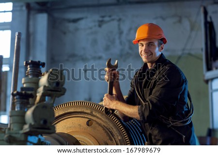 Portrait of a worker for work - stock photo