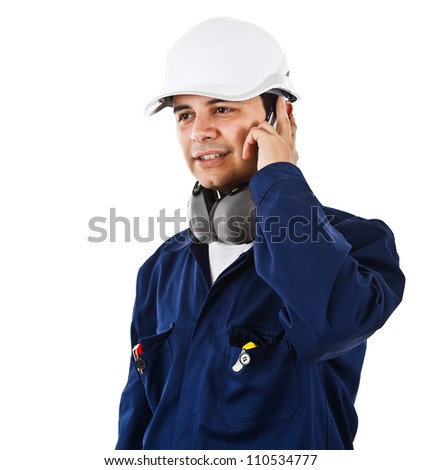 Portrait of a worker isolated on white