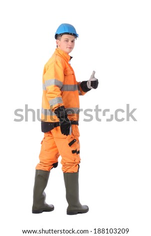 Portrait of a workman with overalls and hardhat