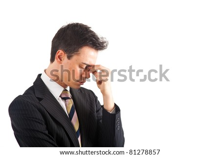 Portrait of a worried and stressed businessman. Isolated on white. - stock photo