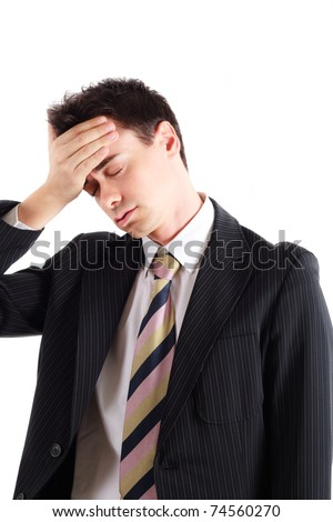 Portrait of a worried and stressed businessman who has forgotten something. Isolated on white. - stock photo