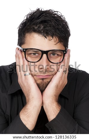 Portrait of a worried man isolated on white - stock photo