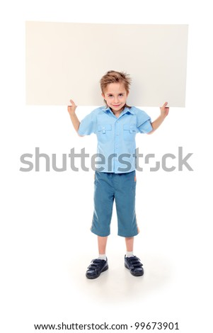 Portrait of a 8 year boy holding white board. Isolated over white background.