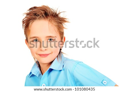 Portrait of a 8 year boy. Isolated over white background. - stock photo