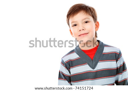 Portrait of a 9 year boy. Isolated over white background. - stock photo