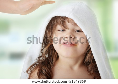 Portrait of a 5 year old girl after bath - stock photo