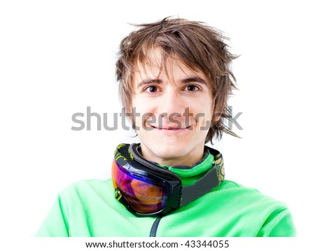 Portrait of a young active man. Skier or snowboarder with sport mask. Isolated - stock photo