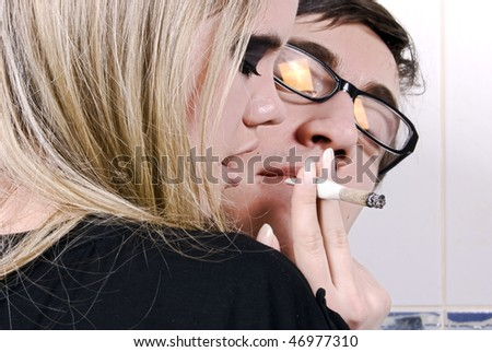 Portrait of a young addict couple - stock photo