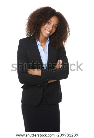 Portrait of a young african american business woman smiling with arms crossed  - stock photo