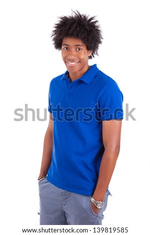 Portrait of a young african american man holding something, isolated on white background - Black people - stock photo