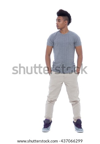 Portrait of a young african american man looking at something. Isolated image on white background.