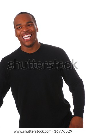 Portrait of a young African American man on white background - stock photo