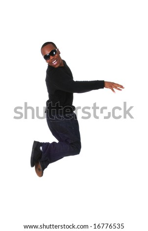 Portrait of a young African American mann jumping on white background