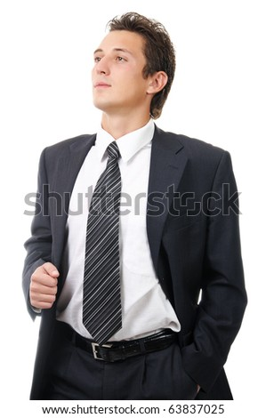 Portrait of a young ambitious business man. Isolated on white - stock photo