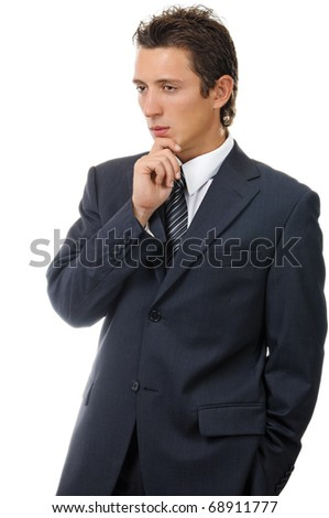Portrait of a young ambitious businessman. Isolated on white - stock photo