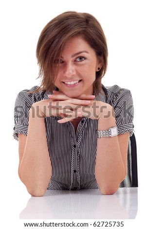 Portrait of a young and beautiful business woman thinking in something - stock photo