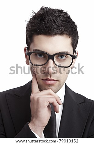 Portrait of a young and fashion businessman with nerd glasses - stock photo